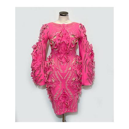PINK laser cut dress