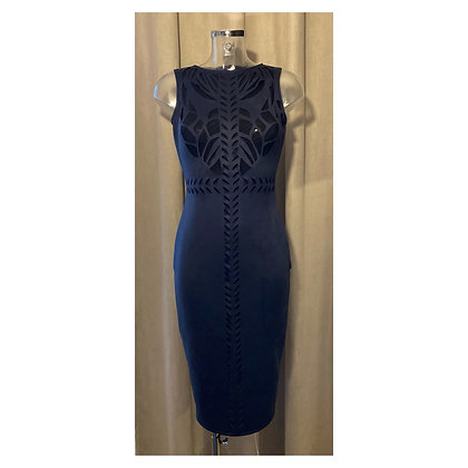 Blue laser cut dress
