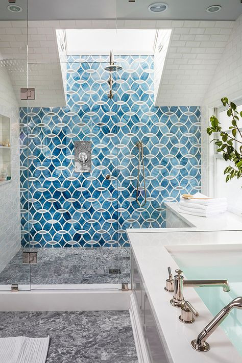 patterned tile shower wall
