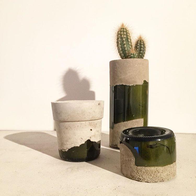 concrete and glass pots