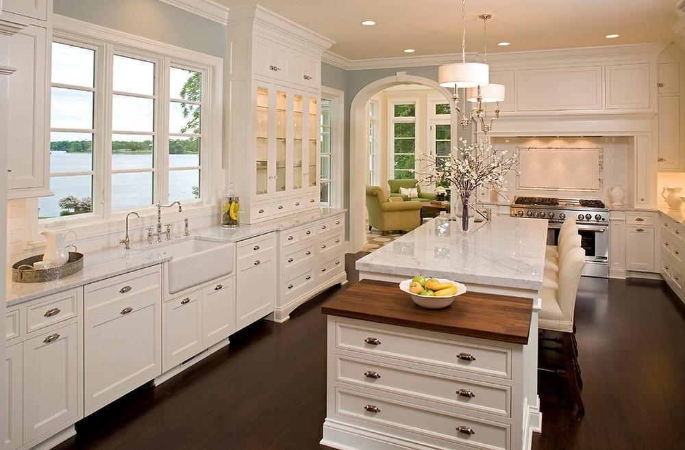 White elegant kitchen farmhouse sink