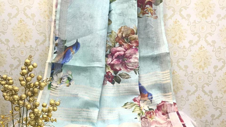 Aqua digital print Linen