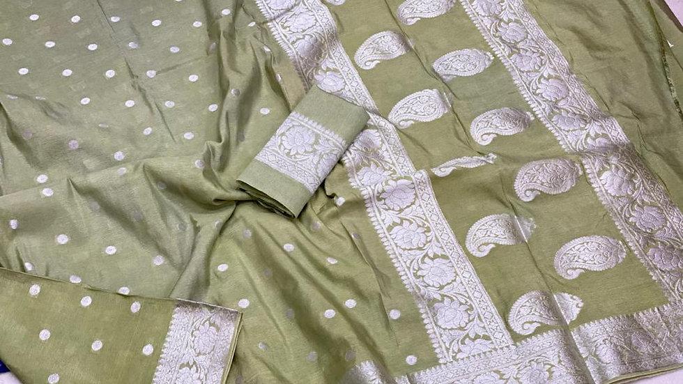 Semi Silk Saree with Banarasi Border and Pallu