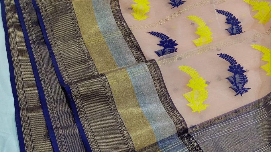 Chanderi Silk Handloom Handwoven Sareee