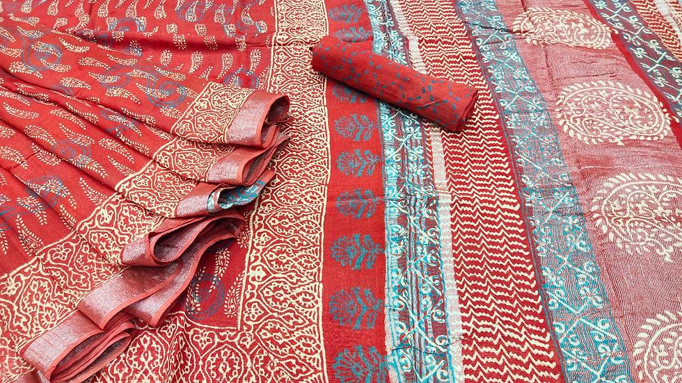 Hand Block Print Cotton Sari
