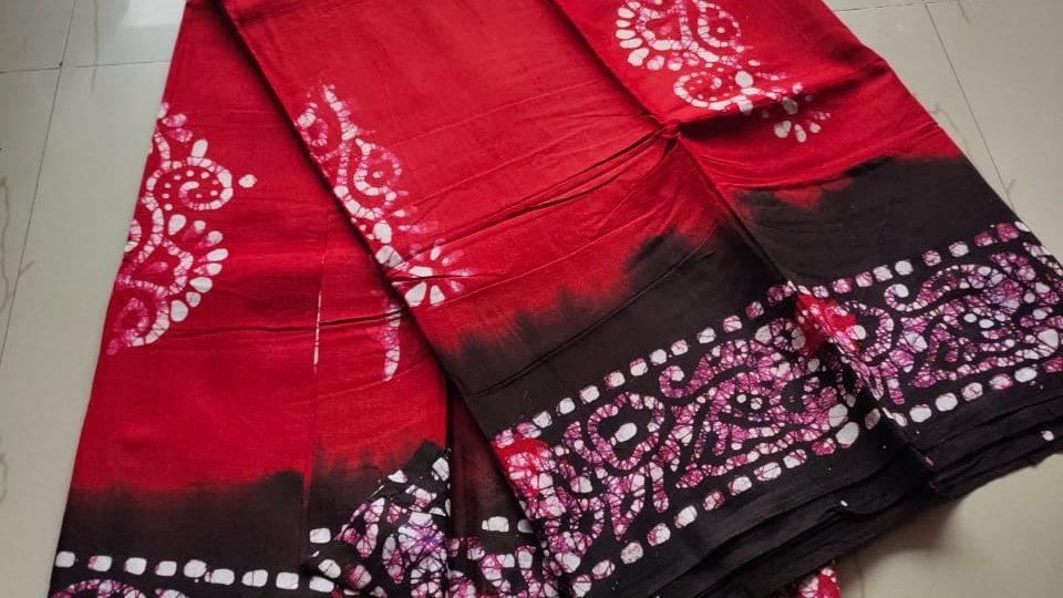 Pure Cotton Batik Saree
