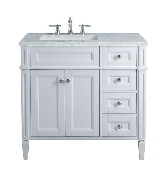 "Anastasia French 36"" White Single Sink Vanity"