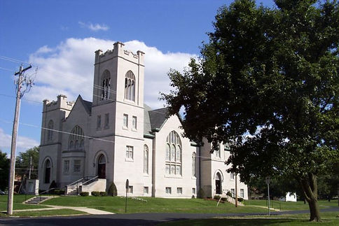 The First United Methodist Church buiding in Carthage, IL