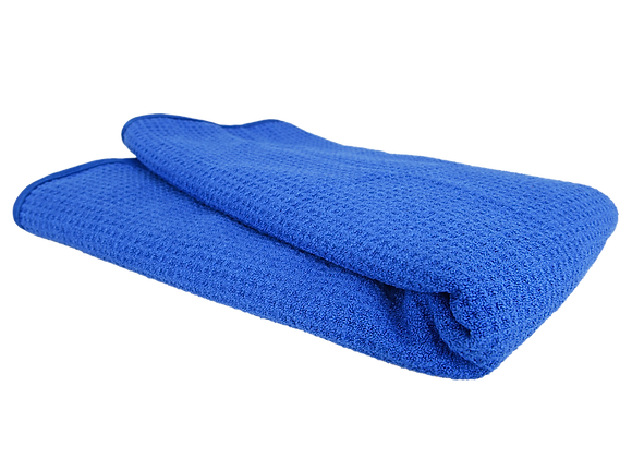 GLASS AND WINDOW WAFFLE WEAVE TOWEL, BLUE