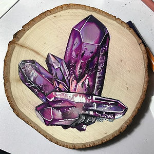 An #amethyst #crystal #drawing on a #wood slice for tomorrow's fair!  Why did I leave this until the