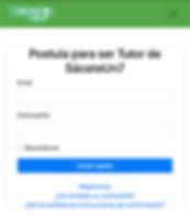 Pantallazo de App para postular a proceso de selección de tutores