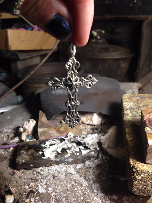 Cyborg - Double Sided Ornate Cross Pendant