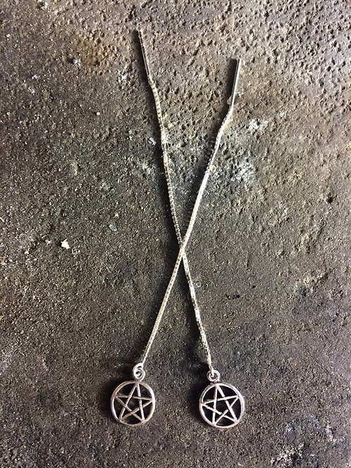New Jewellery - Large Pentagram Ear Threads
