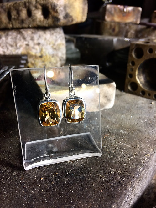 New Jewellery - Large Square Citrine Earrings
