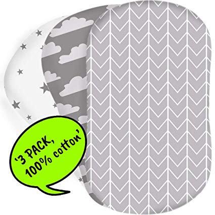 3-Pack Moses Basket Sheets
