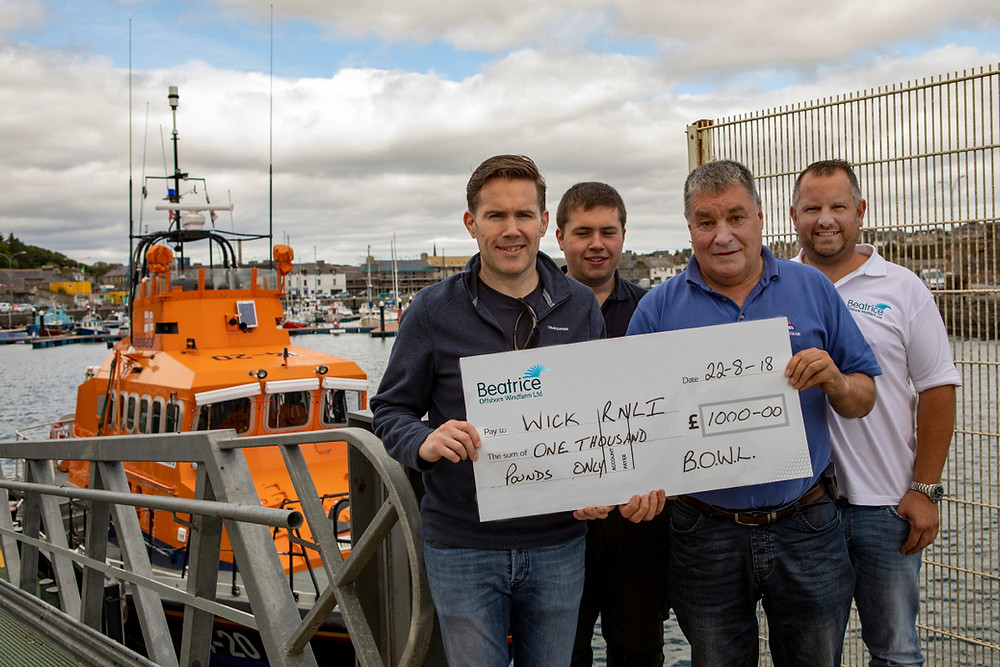 Left to right : Steve Wilson (BOWL), Ryan Cormack and Corrie Cormack (Wick RNLI) and Richard Garton (BOWL/RNLI)