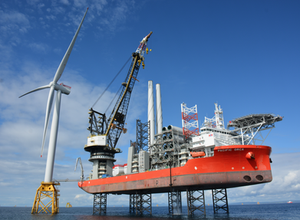 First turbine and the Pacific Orca installation vessel