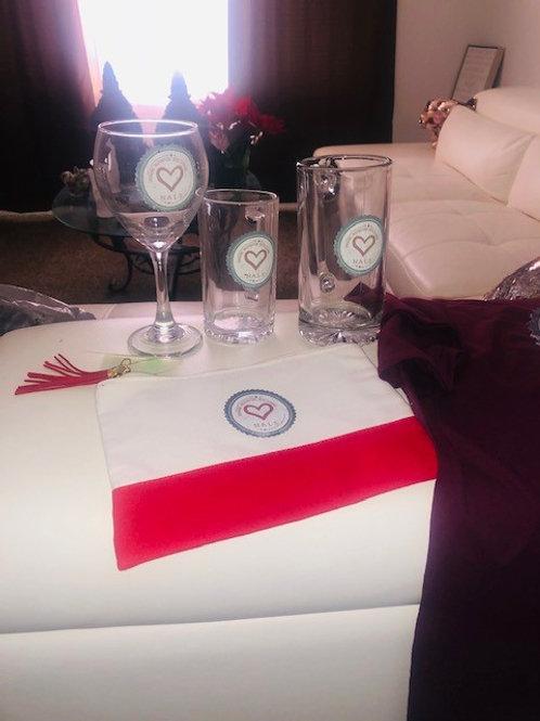 Glassware: Wineglass and Mug $10; Tumbler $15