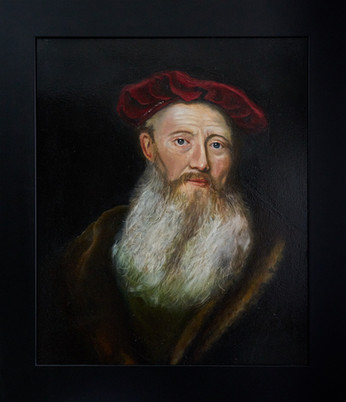 Man met rode baret