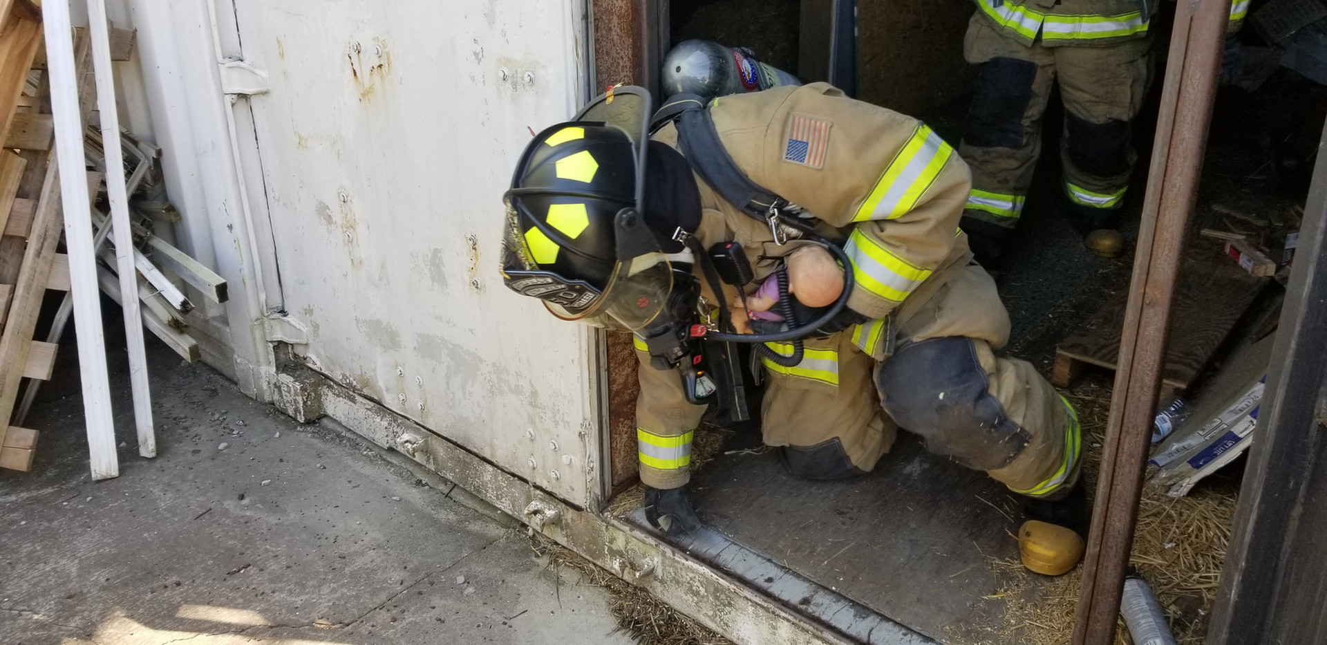 Firefighters crawling in Hot Box Baby Re