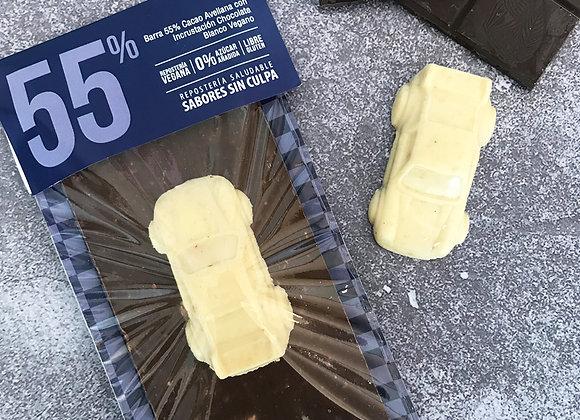 Barra 55% Cacao Avellana con Chocolate Blanco Vegano