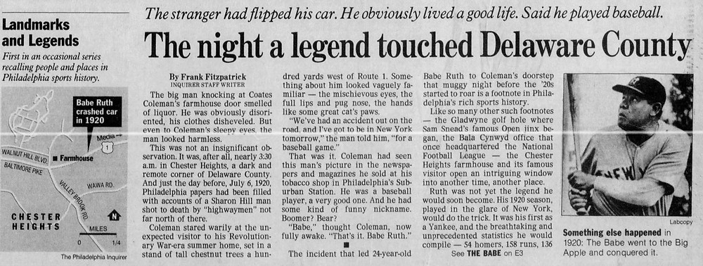 The front page of the Inquirer spors section from January 29, 1997 featured this story on Coates Coleman and Babe Ruth.