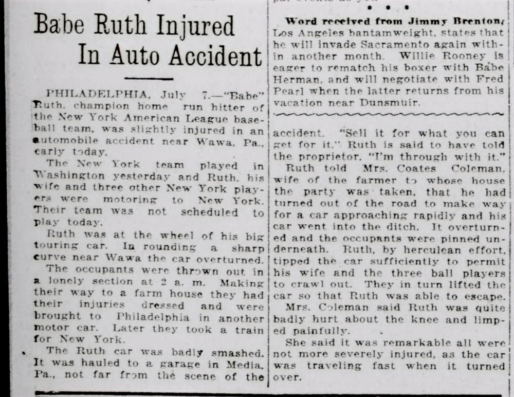 Original article that appeared the day after Babe Ruth's accident in what is not Chester Heights, PA