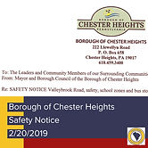 The Borough  reached out to neighboring communities via letter and social media asking them to share their request to be mindful of the  children in The Borough as the travel along Valleybrook Road.