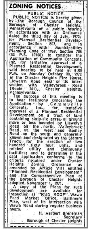 Village of Valleybrook Zoning Notice