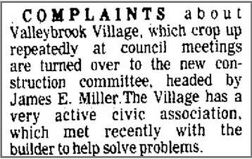 Vilage fo Valleybrook Construction Concerns