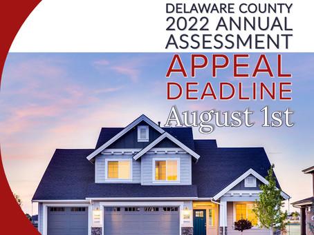 Annual Assessment Appeal Deadline August 1st