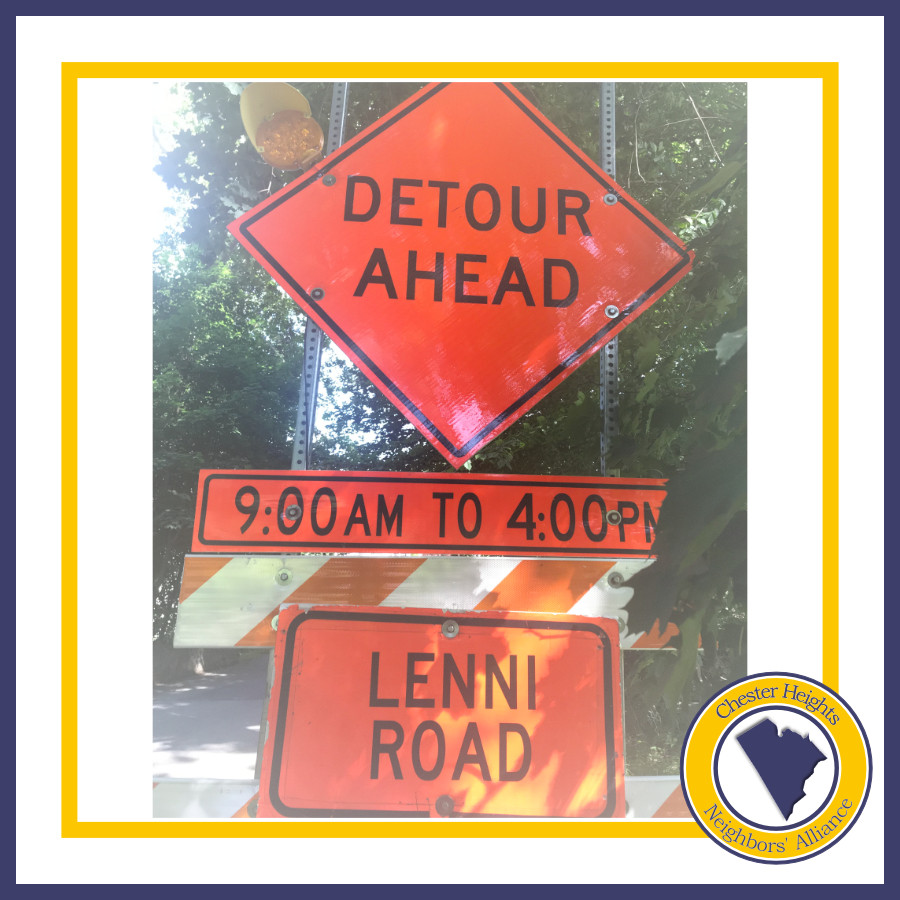 Lenni Rd. Detour Ahead, Chester Heights, Aston, PennDOT, Aqua, SEPTA