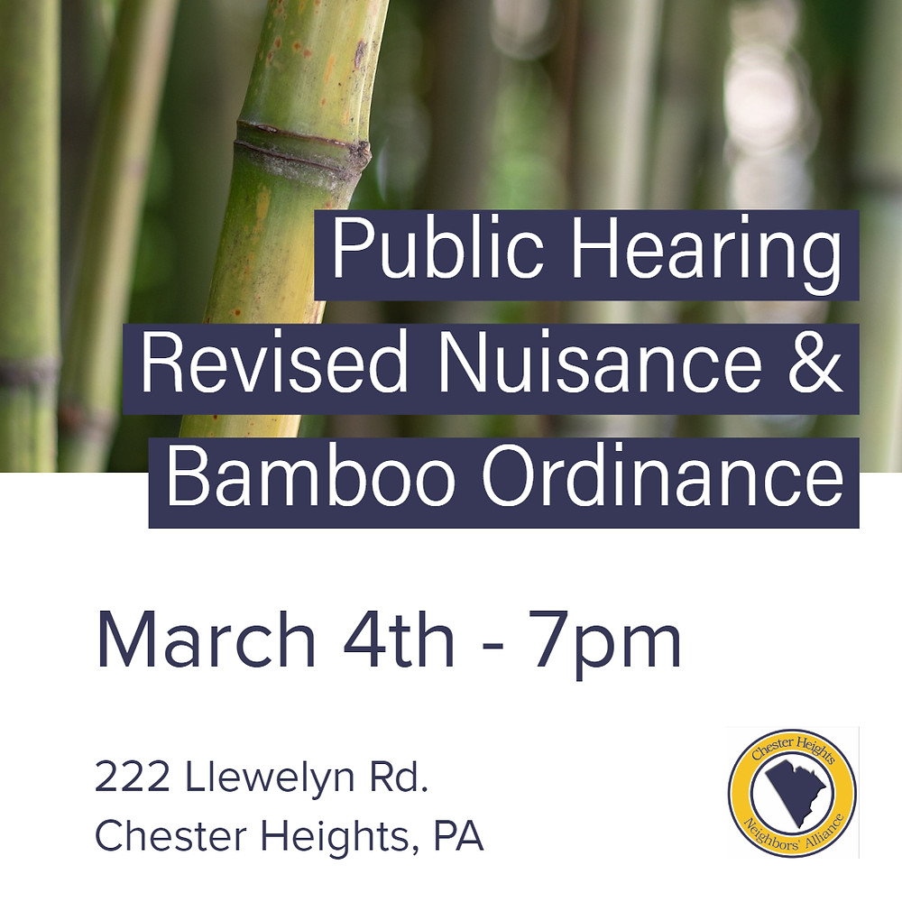 Bamboo Ordinance Public Hearing Chester Heights