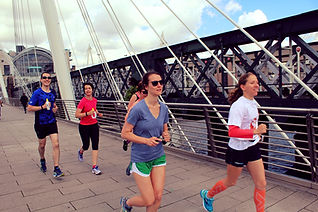 Mixed group of runners on a training run in London