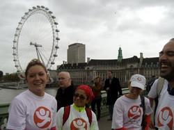Happy runners on Westminster bridge