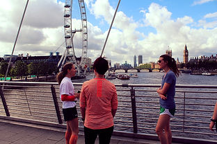 Runners enjoying the Iconic Lodon fun run with the London Eye in the background