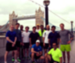 Jogging tour guests at the start of their tour at Tower Bridge