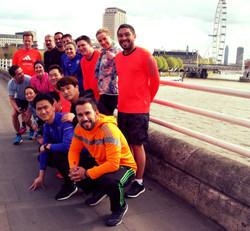 Corporate group enjoying a run tour