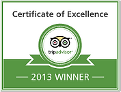 Trip Advisor Certificate of Excellence 2013 winner's badge