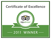 Trip Advisor 2011 Certificate of Excellence 2011 winner's badge