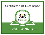 Trip Advisor Certificate of Excellence 2011 winner's badge