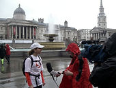 City Jogging Tours founder being interviewed by the BBC