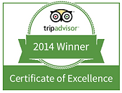 Trip Advisor Certificate of Excellence 2014 winner's badge