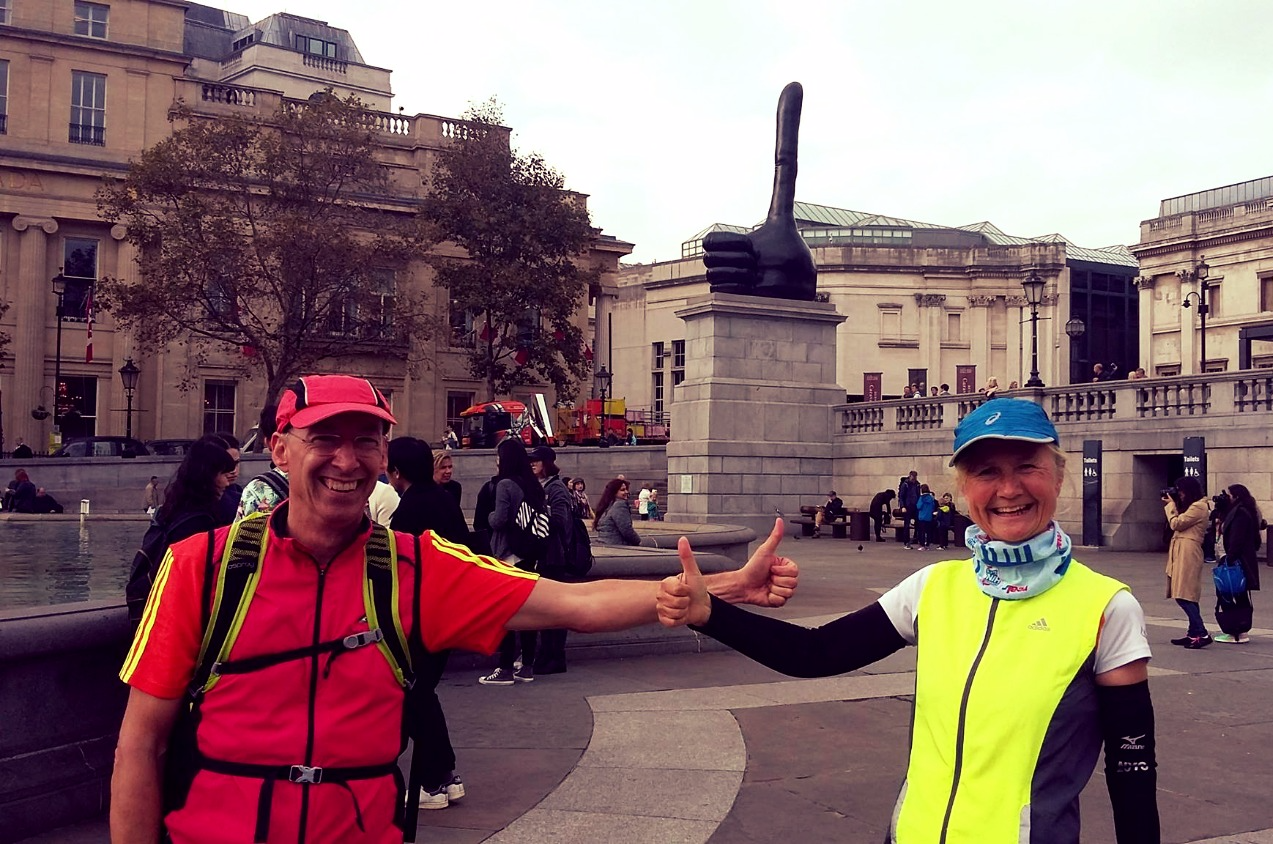 Thumbs up in Trafalgar Square