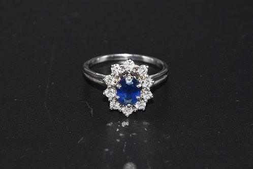 Bague Marguerite saphir et diamants
