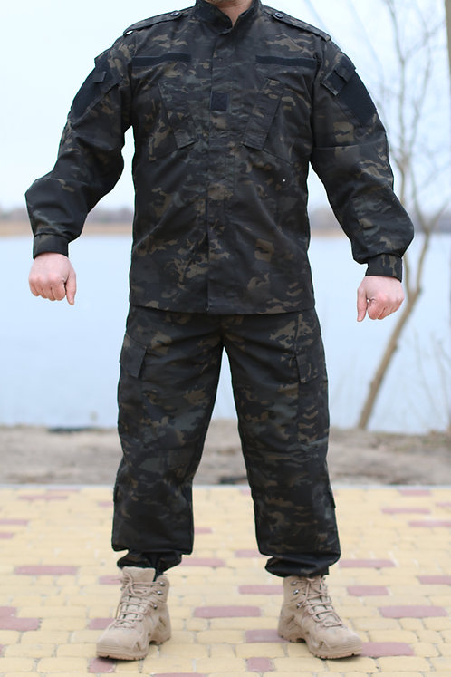 Costum US ACU Jacheta+Pantaloni Rip Stop black multicam