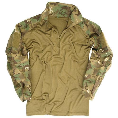 Bluza tactica Combat cu protectii coate ′WARRIOR′, camuflaj Woodland Arid