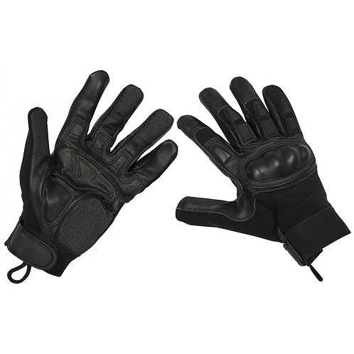 Manusi negre de piele cu protectie pentru pumn si degete