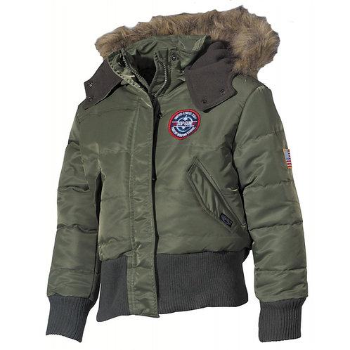 SUA copii polar jacheta N2B,  măsline, gluga cu guler de blana