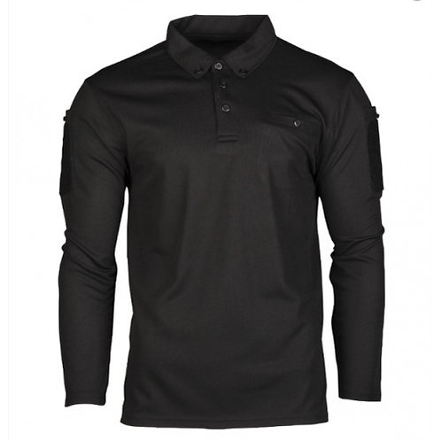 BLACK TACTICAL LONG SLEEVE POLO SHIRT QUICK DRY